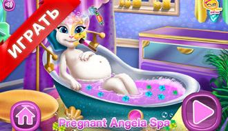Беременная Анжела в СПА салоне
