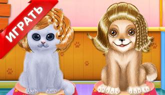 Котенок и щенок дружат