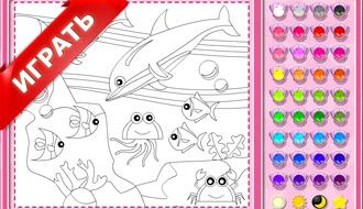 Раскраска дельфинов
