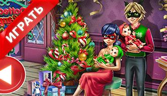 Семья Леди Баг на Рождество