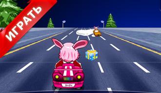 Кролик на розовой машине