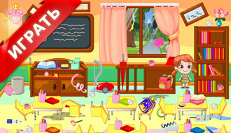 Анна убирает комнату
