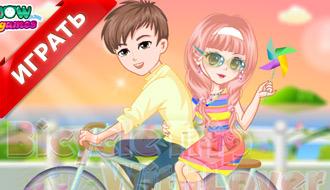 Девочка и мальчик на велосипеде